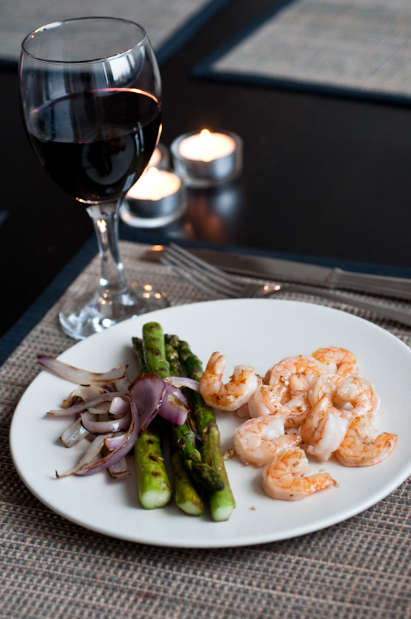 grilled shrimp &amp; asparagus