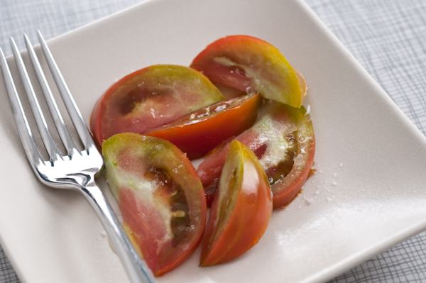 black trifele tomatoes with sea salt
