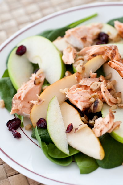 Salmon Salad with Cranberries Pears Spinach