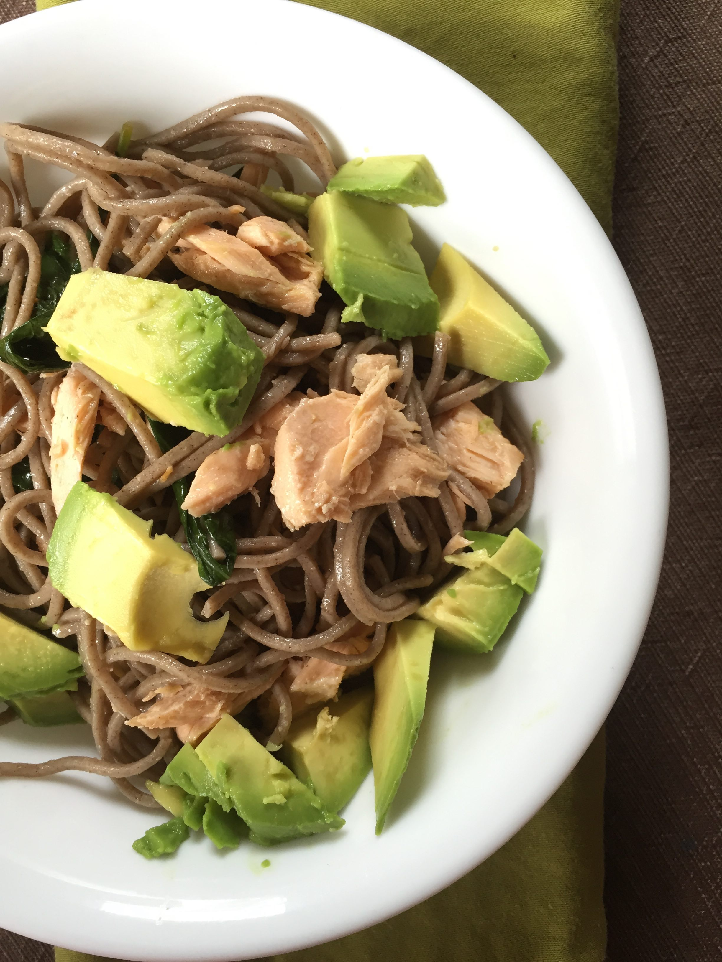 Cold Soba Noodles with Salmon, Kale & Avocado