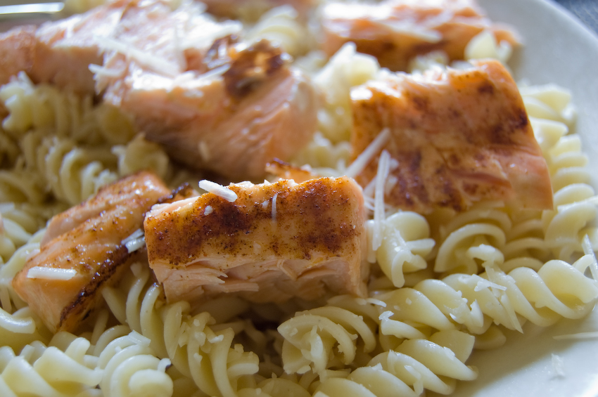 salmon over pasta weekly lunch