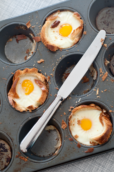 Muffin tin, repurposed. A recipe for challah egg cups.