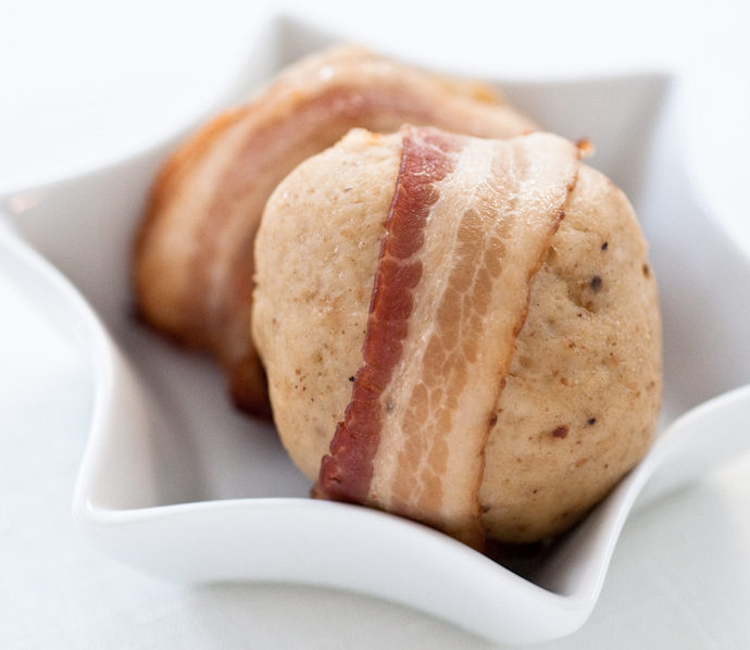 Bacon-wrapped Matzo Balls. No…seriously.