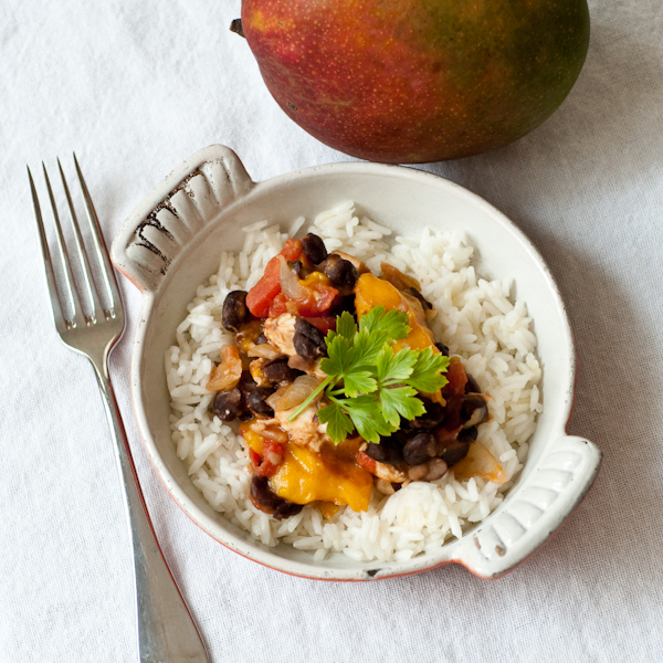 Quick Mango Chicken Stew(ish) with Black Beans & Tomatoes