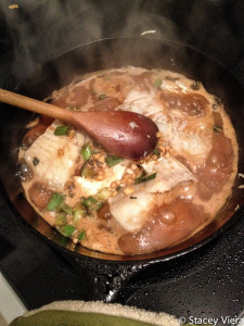 Cod cooking in cast iron. It doesn't get much better than this.